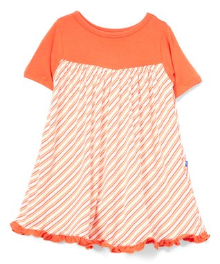 ca169dd979ca Pink Freshwater Stripe Short-Sleeve Babydoll Dress - Infant, Toddler & Girls
