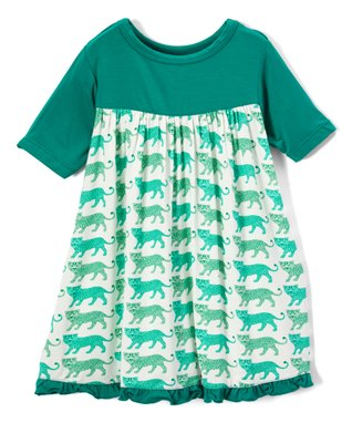 5c8037f6ebb6 Natural Leopard Short-Sleeve Babydoll Dress - Infant, Toddler & Girls