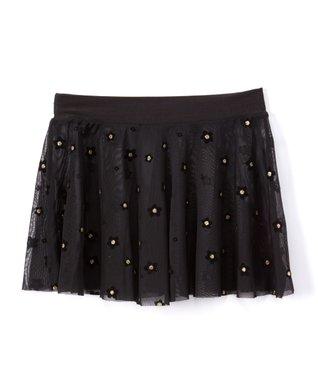 18b4ba4da Black Daisy Mesh-Overlay Pleated Skirt - Toddler & Girls