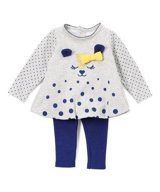 b4e3a0edddf Gray   Navy Dot Bow-Accent Bear Tunic   Leggings - Infant