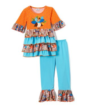 92e97377b Orange Turkey Ruffle A-Line Dress & Pants - Toddler & Girls