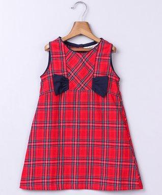 Red & Navy Plaid Sleeveless Dress - Newborn, Infant, Toddler & Girls