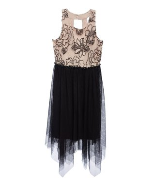 a55aad412ad Black   Beige Embroidered Handkerchief Dress - Girls