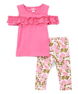 5a5bb885491 Fuchsia Floral Ruffle Cutout Top   Leggings - Infant