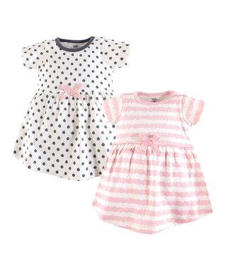 a19199b1a329 Pink & White Stripe A-Line Dress & Gray Dotted A-Line Dress - Newborn,  Infant, Toddler & Girls