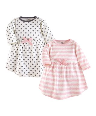 089bbb1bc Pink & White Stripe Long-Sleeve A-Line Dress & Gray Dotted Long-Sleeve  A-Line Dress - Infant, Toddler & Girls