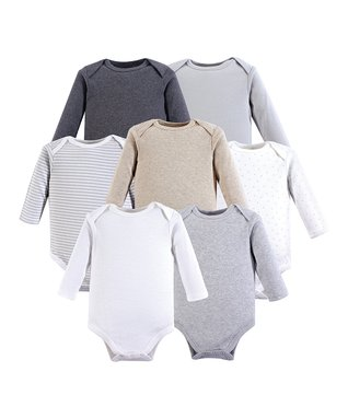 Gray   Beige Long-Sleeve Bodysuit - Set of 7 152be50f0