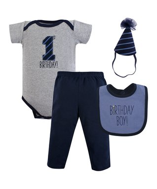 7b6320e28 Gray   Navy  1st Birthday  Bodysuit Set - Infant
