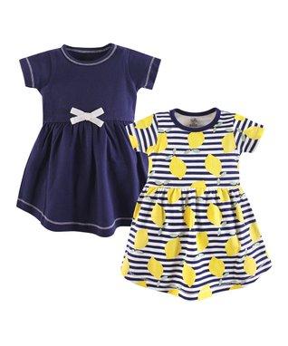 928dd4492e1 Navy   Yellow Lemons Organic Cotton A-Line Dress Set - Newborn   Infant
