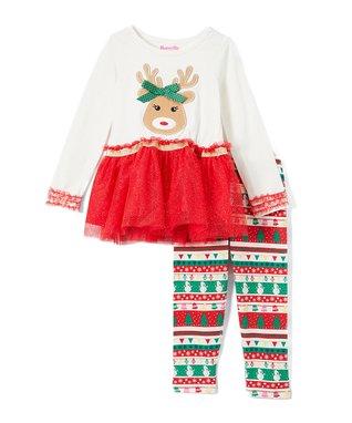 cac50770f95e Red, White & Green Reindeer Peplum Top & Fair Isle Leggings - Infant &  Toddler