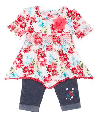 7859f1b2e6 Coral Floral Shirred Tunic   Navy Capri Jeggings - Infant   Toddler