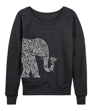 1d96c1e8b0b Heather Charcoal Elephant Holding Lotus Slouchy Pullover - Women   Plus