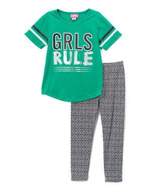 835d0693e158c Green 'Girls Rule' Football Tee & Stripe Leggings Set - Girls