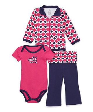 df9b3784a90e1 Fuchsia   Navy Bird Jacket Set - Newborn   Infant
