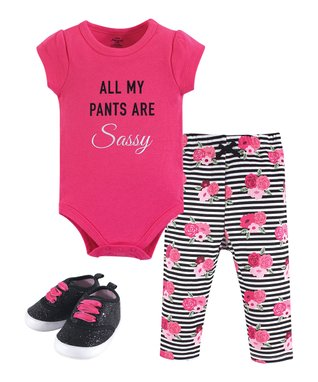 Pink   Gray  All My Pants Are Sassy  Bodysuit Set - Newborn   Infant 45d74f9e1