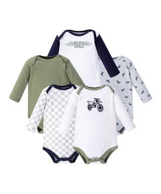 97584aaeaef2 Olive   White  Born to Be Wild  Long-Sleeve Bodysuit Set - Newborn   Infant