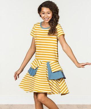 7dde75f347a Yellow   Blue Stripe Sunshiny Days Dress - Girls