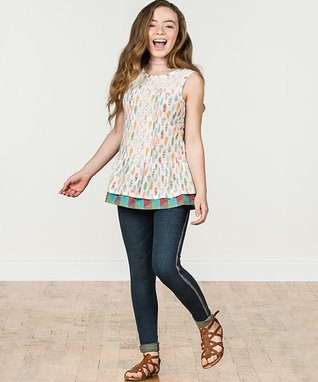 7a7fe8eab7b7 White   Blue Of a Feather Top - Girls