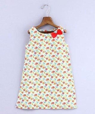 c59872e7f8810 Orange & Red Floral Bow-Accent A-Line Dress - Newborn, Infant, Toddler &  Girls