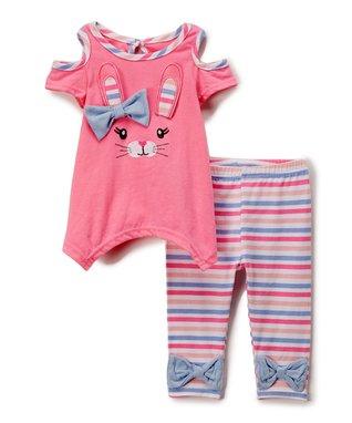 1f8bd926cdf8 Pink Bunny Face Handkerchief Top & Pink Stripe Leggings - Infant & Toddler