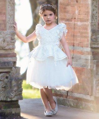294aadda0b29 White Flower-Sleeve Athena Angel-Sleeve Dress - Infant