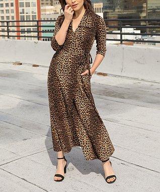 891b202fec Brown   Black Leopard Three-Quarter Sleeve Pocket Wrap Dress - Women   Plus