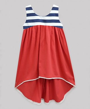 02b22f8d4 Navy Stripe Red Hi-Low Dress - Infant, Toddler & Girls