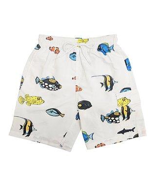 bea7ee4eaa White Aquarium Fish Swim Trunks - Boys