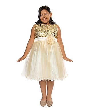 Gold Glitter Sequin Tulle A-Line Dress - Infant a3c12041a