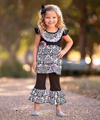 32618b9d2 Black & White Damask Tunic & Capri Pants - Toddler & Girls