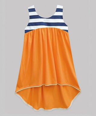 fd2b8bbfd6b Orange   Navy Stripe-Contrast Hi-Low Dress - Infant