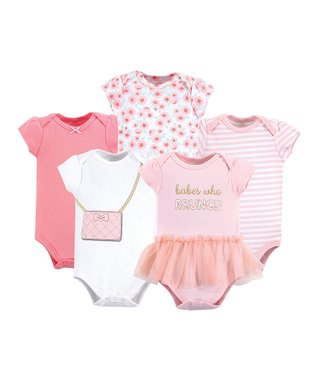 662e03b202306d Pink   White Brunch Five-Piece Bodysuit Set - Newborn