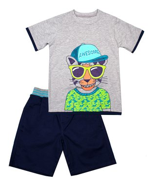 40f745b58 Gray 'Awesome' Tee & Navy Shorts - Infant, Toddler & Boys. Blue  Construction Button-Up ...