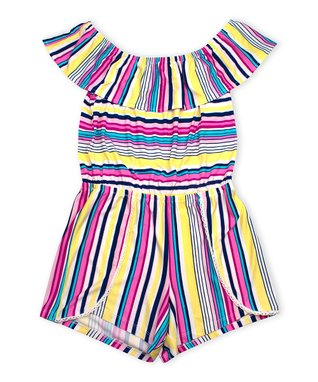 f05c01db59 Navy   Yellow Stripe Flounce Tulip-Hem Romper - Girls