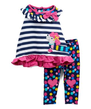 3c0d7d3ecc74c Navy Stripe Poodle Ruffle Yoke Top & Polka Dot Heart Leggings - Infant &  Toddler