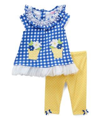 a2615e2f22fe Blue Gingham Flower Pot Swing Top   Yellow Dot Leggings - Infant   Toddler