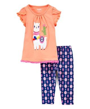 4b76bf72b Coral Llama Cactus Cap-Sleeve Top & Purple Geometric Leggings - Infant,  Toddler & Girls
