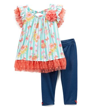 3e114dd06a7 Blue   Coral Floral Ruffle Angel-Sleeve Top   Blue Leggings - Infant