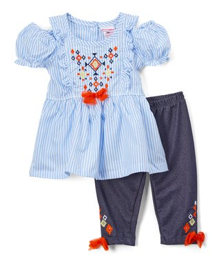 e2cf3d52266e Blue Stripe Cutout Tunic & Embellished Leggings - Infant, Toddler & Girls