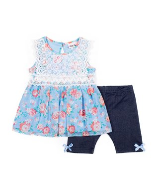56bab98331849 Blue Floral Lace-Bodice Babydoll Tank   Bow-Accent Bike Shorts - Infant