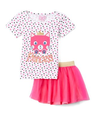 333f6750fed Pink   White  Princess  Cat Tee   Pink Tulle Skirt - Infant   Toddler