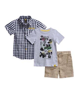 777fcb5c0 Black & White Checker Short-Sleeve Button-Up Set - Infant, Toddler & Boys