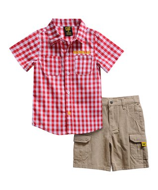 55c28a3ba Red & White Checkerboard Button-Up & Khaki Shorts - Toddler & Boys