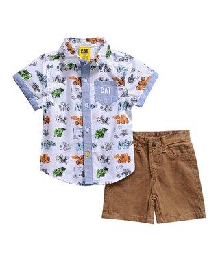 11ed2849d9d Green   White Construction Button-Up   Orange Shorts - Infant