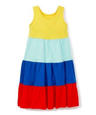 c56ec5d0b Blue & Red Color Block Twirl Power Dress - Girls
