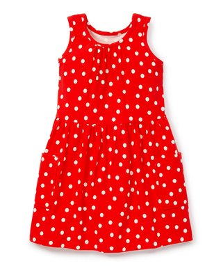 9578be45a1f Tangy Red Polka Dot Pocket Tank Dress - Toddler   Girls