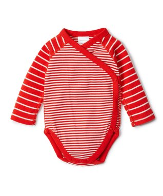Tangy Red Stripe Organic Cotton Crossover Bodysuit - Infant & Toddler