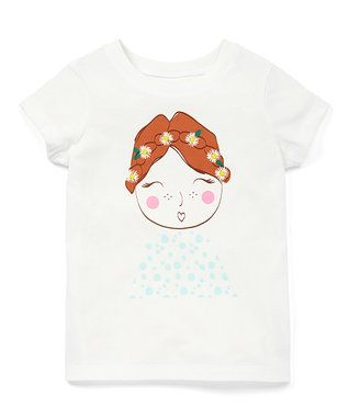 4d8addad8d White Flower Girl Cotton Graphic Tee - Toddler & Girls