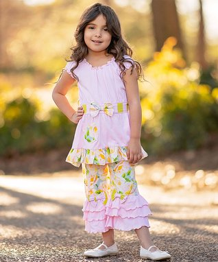 ad0b7f7b7d56 Pink   Yellow Spring Floral Ruffle-Trim Tunic   Capri Pants - Toddler    Girls