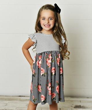 Kids Girls Dress Summer Ruffle Heart Print Plaid Checked Gingham Skirts 0-7Y